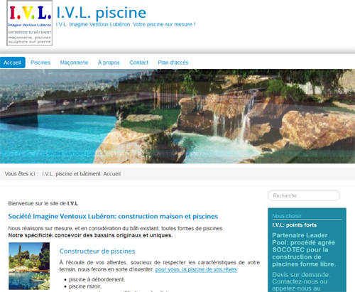 Site du piscinite Imagine Ventoux Lubéron près de Carpentras et Avignon
